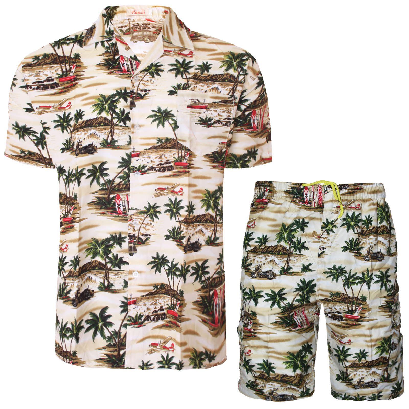 Mens hawaiian shirt shorts set flower printed holiday for Hawaiian shirt fancy dress