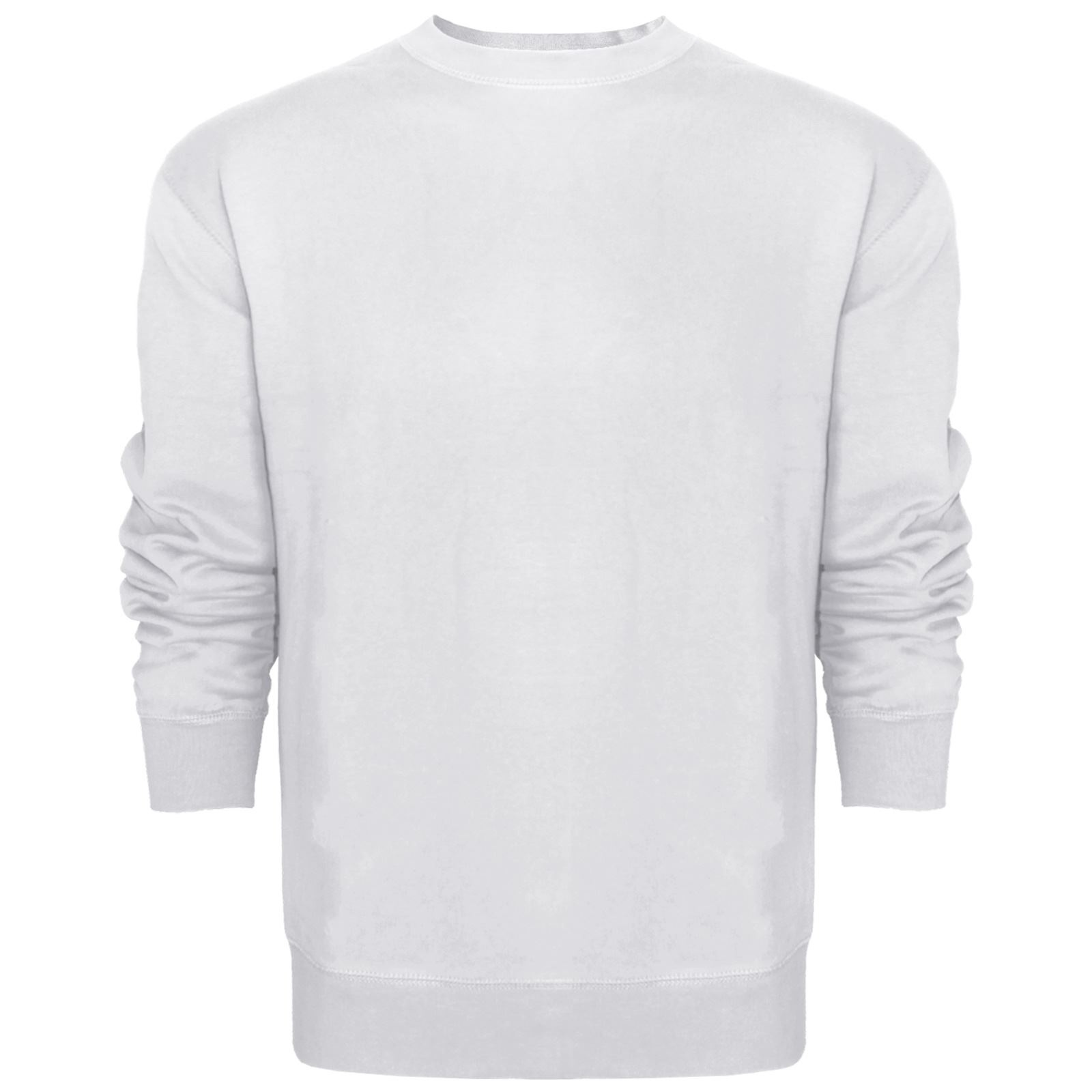 MENS SWEATSHIRT JUMPER CREW NECK SWEATER PLAIN CASUAL PULLOVER ...