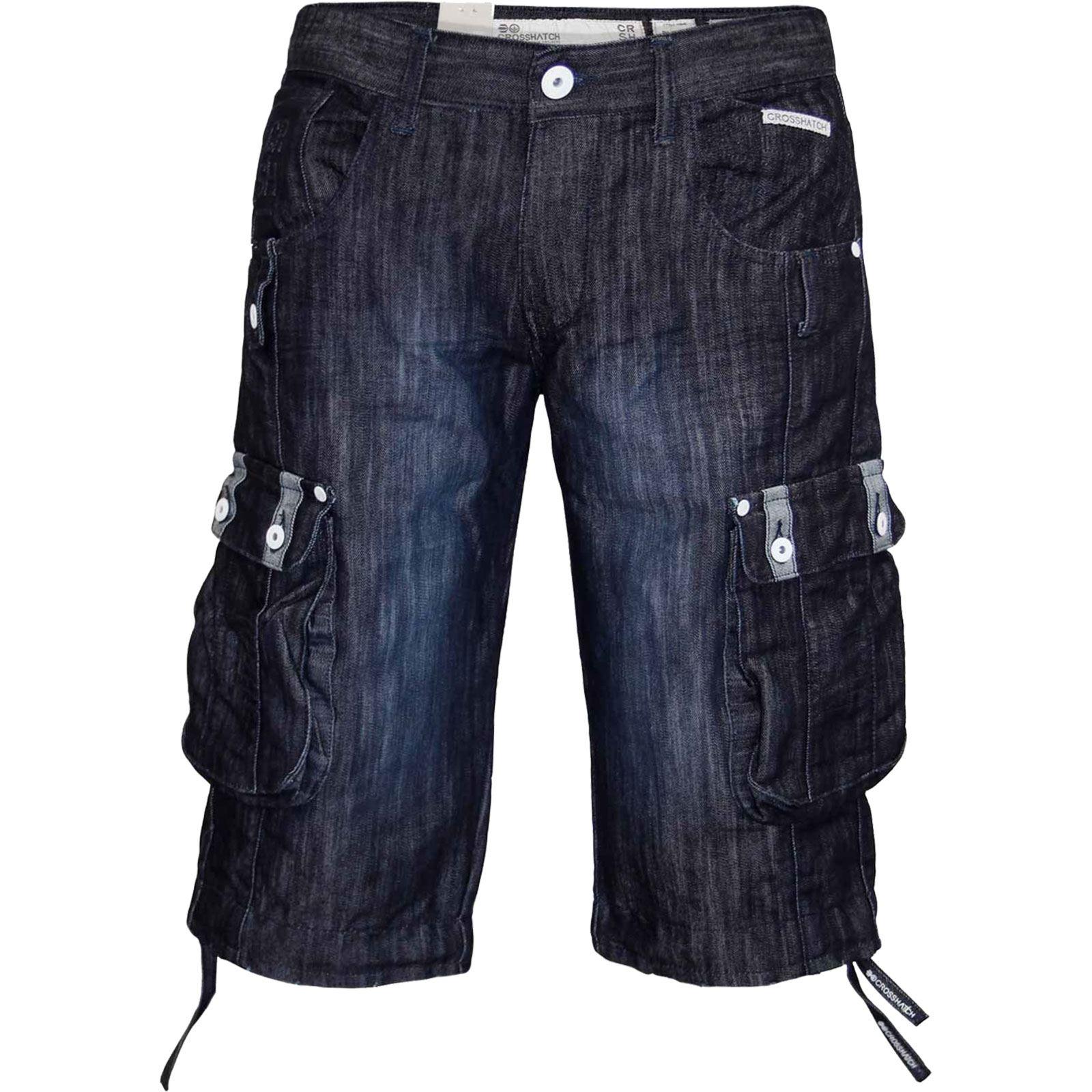 New Mens Designer Crosshatch Denim Shorts Cargo Combat Pants Jeans ...