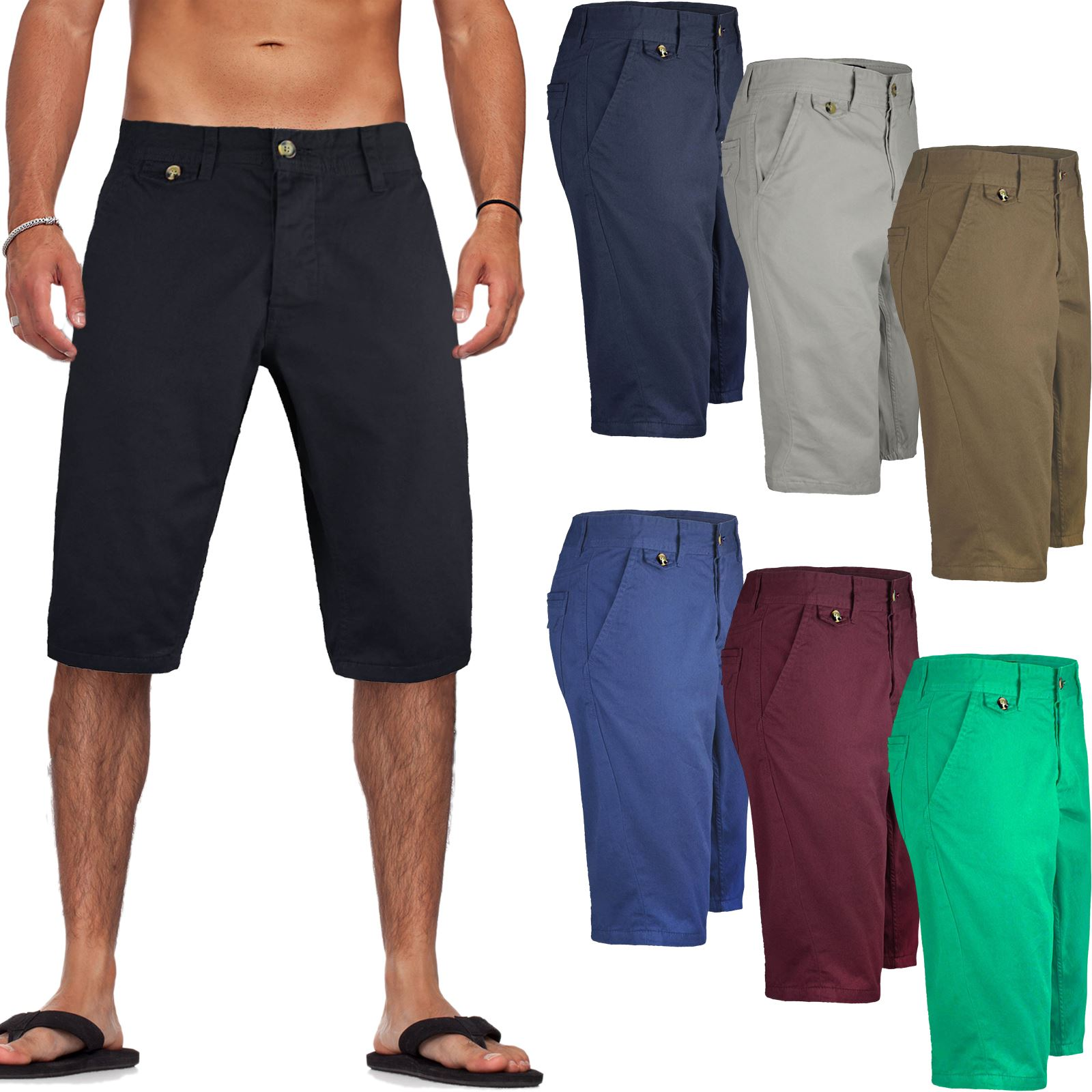 Mens Kangol Casual Knee Length Long 3/4 Chino Summer Shorts ...