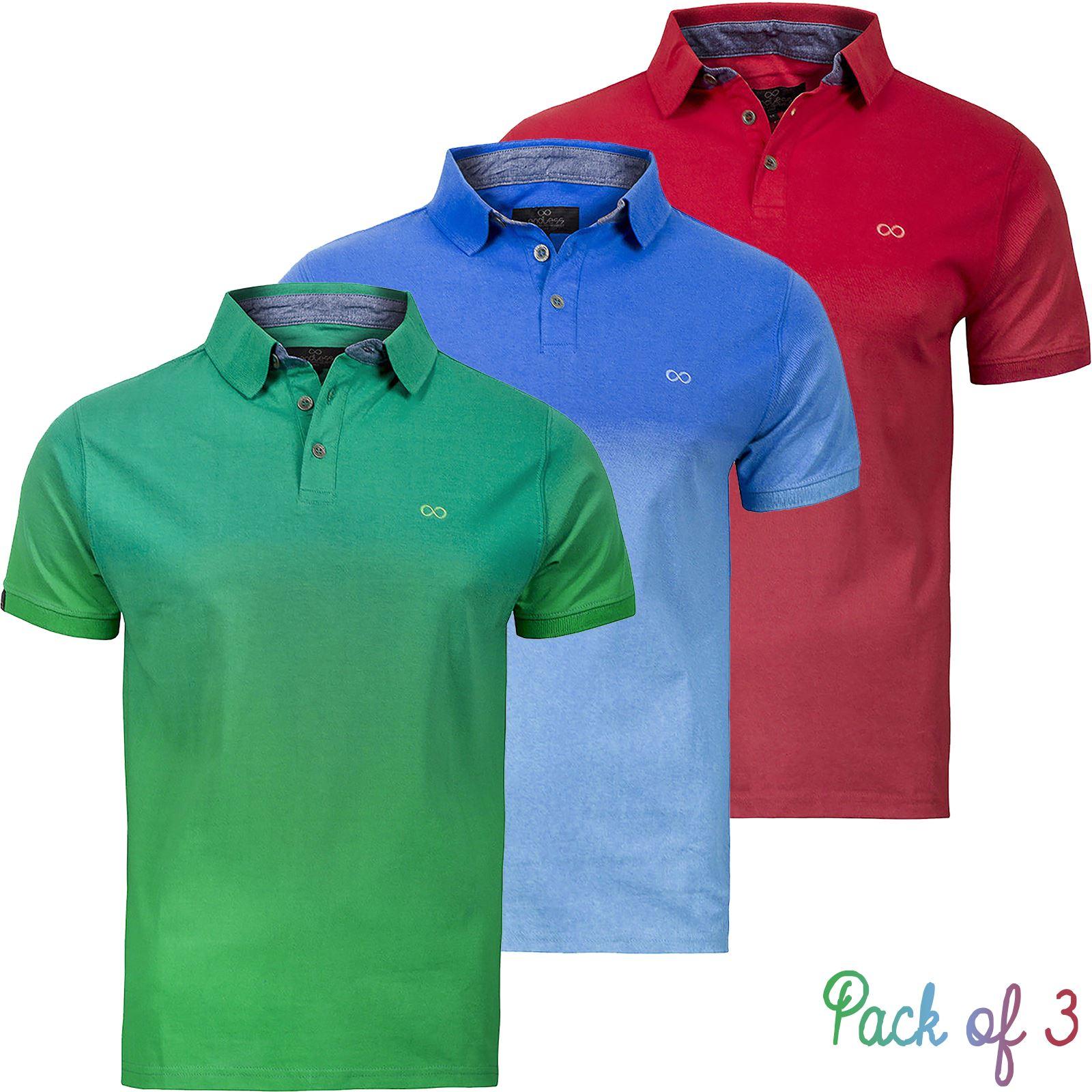 New mens pack of 3 polo shirts multi 3pack endless dip dye for Mens dip dye shirt