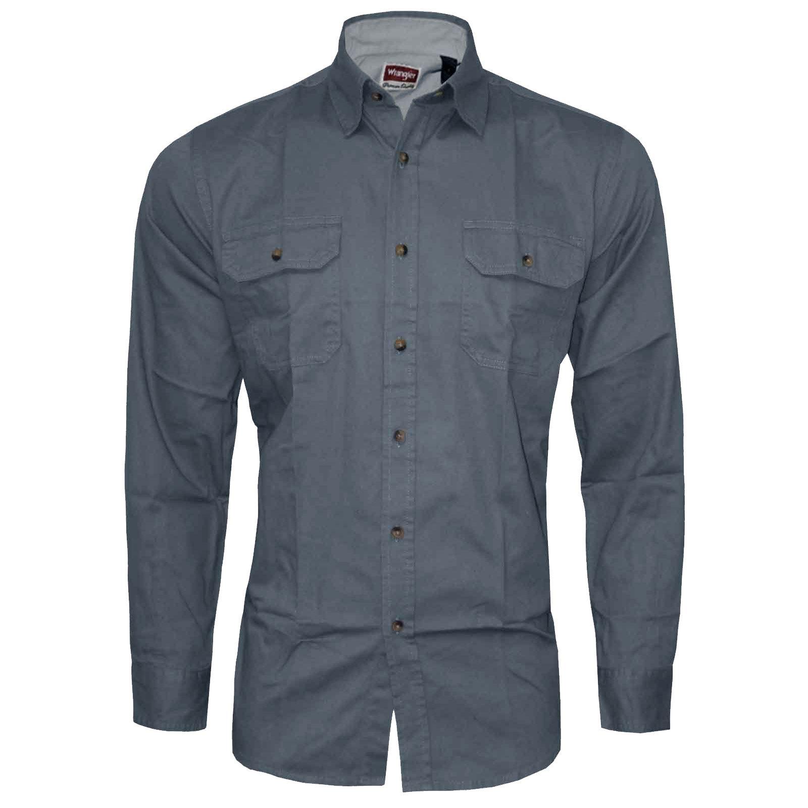 mens wrangler branded shirt long sleeve 100 cotton