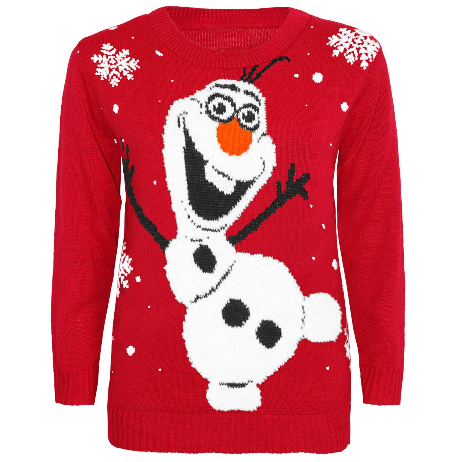 Olaf Christmas Jumper Knitting Pattern : MENS KIDS WOMENS CHRISTMAS XMAS JUMPER OLAF FROZEN POMPOM KNITTED SWEATSHIRT ...