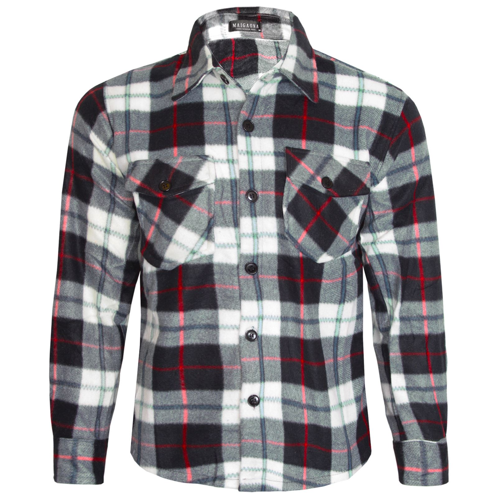 Mens Fleece Lined Check Shirt Winter Thermal Button Top