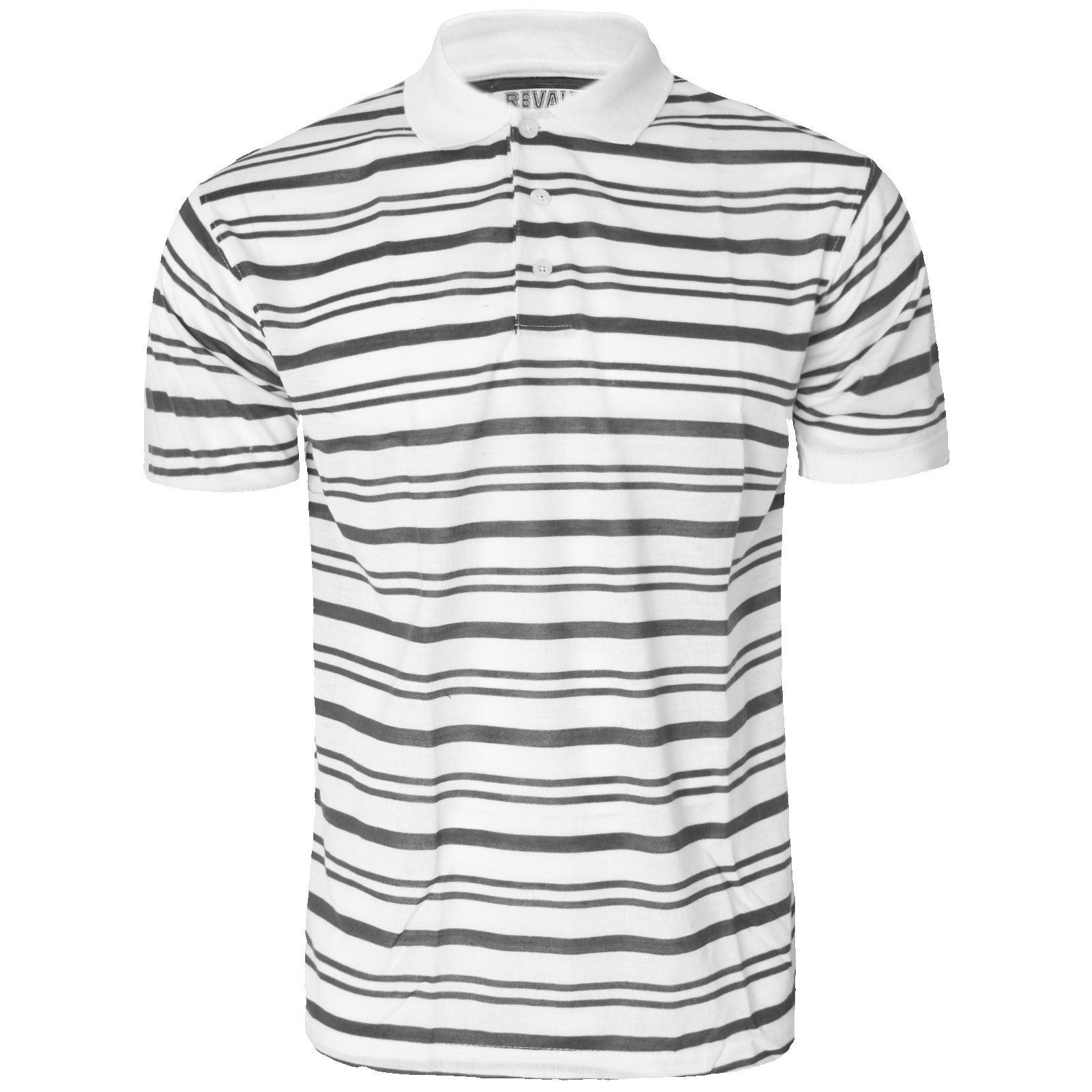 Black and white striped t shirt xxl - New Mens Short Sleeve Plain Polo Tshirt Top