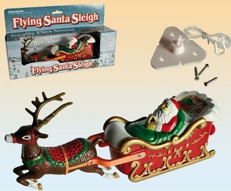Flying-Santa-Claus-On-Sleigh-With-Reindeer-Hanging-Ceiling-Xmas-Decoration-NEW