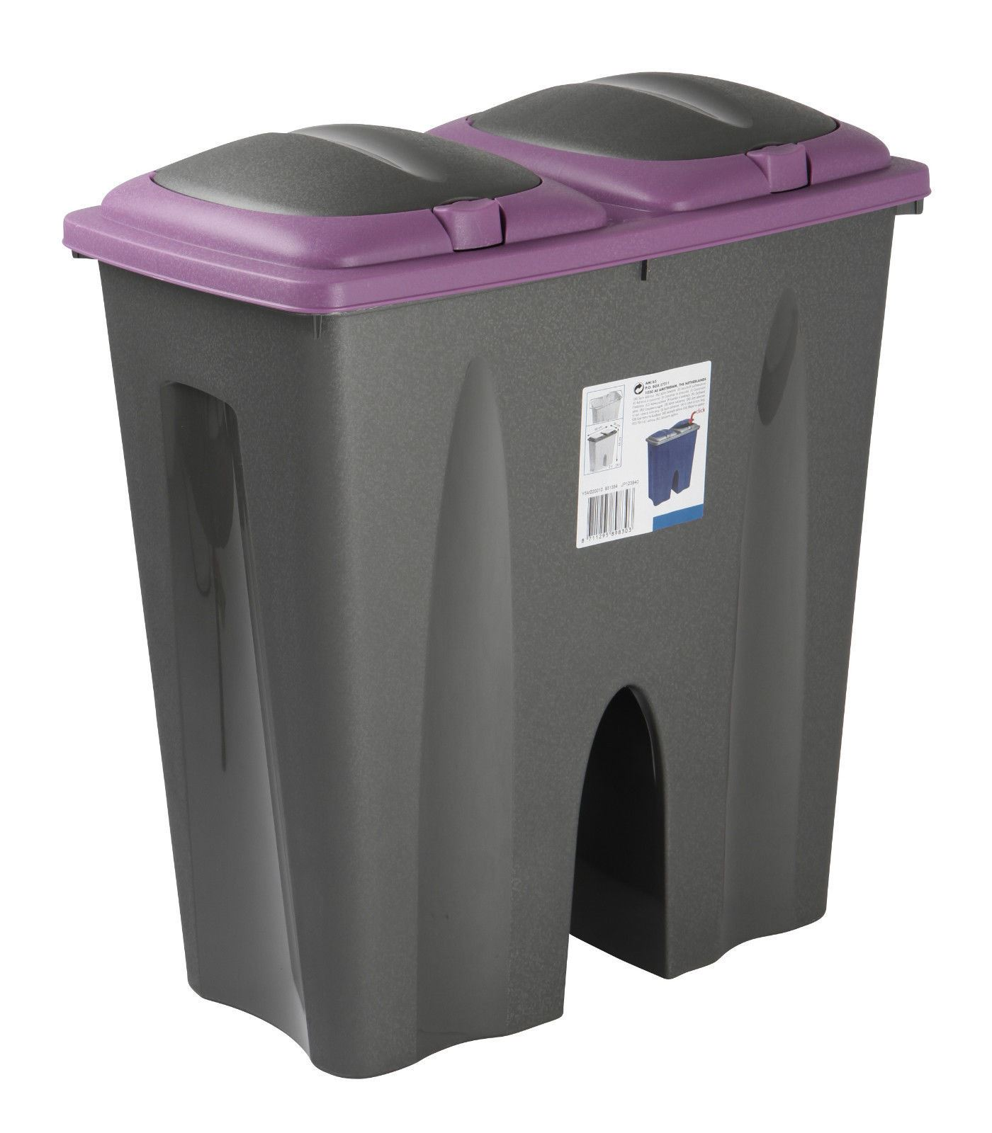 50l duo bin waste garbage trash can separator double side recycle dustbin 2x 25l ebay. Black Bedroom Furniture Sets. Home Design Ideas