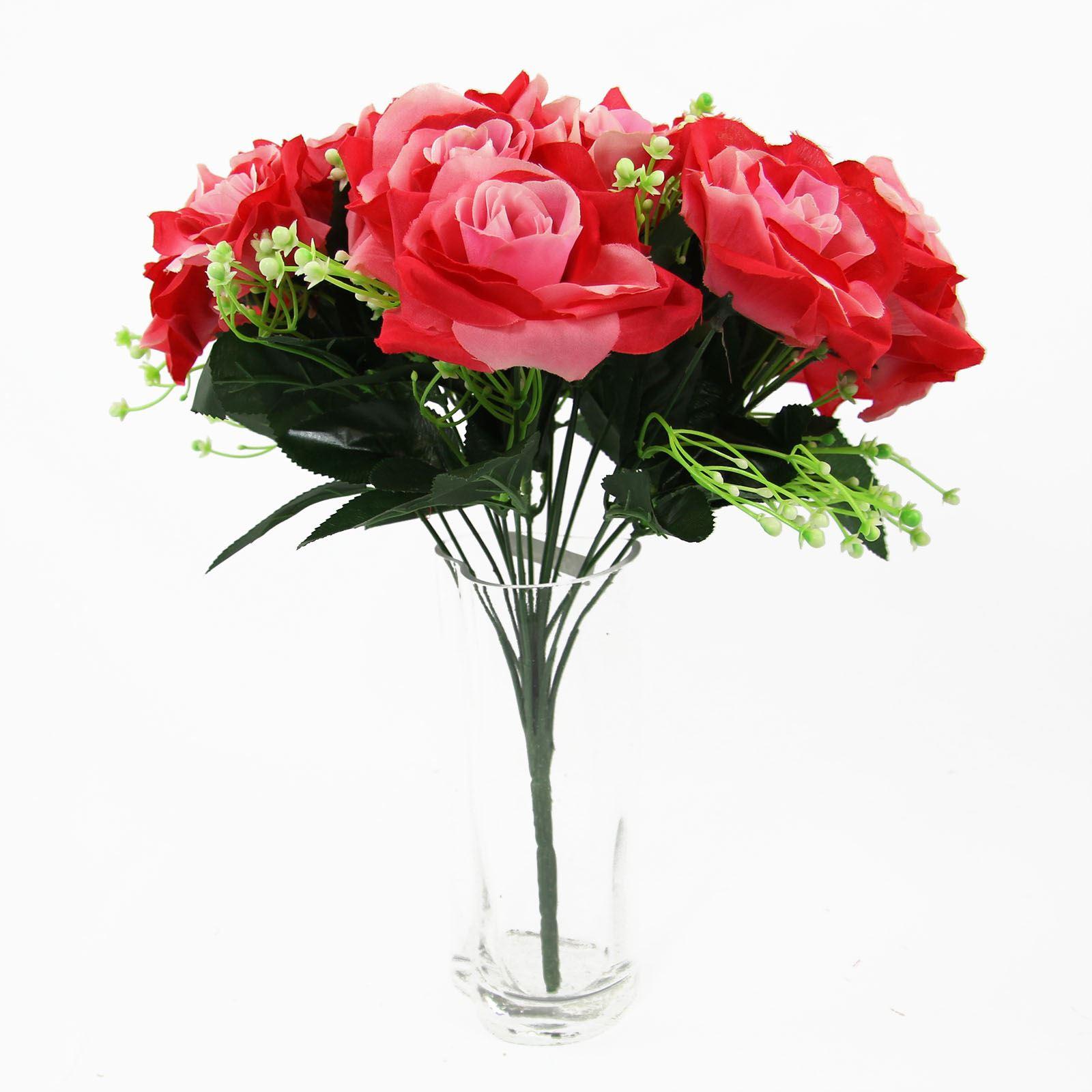 Silk Flower Bouquets Do Yourself: XL 18 Head Open Rose Bouquet! Large Premium Fake Silk