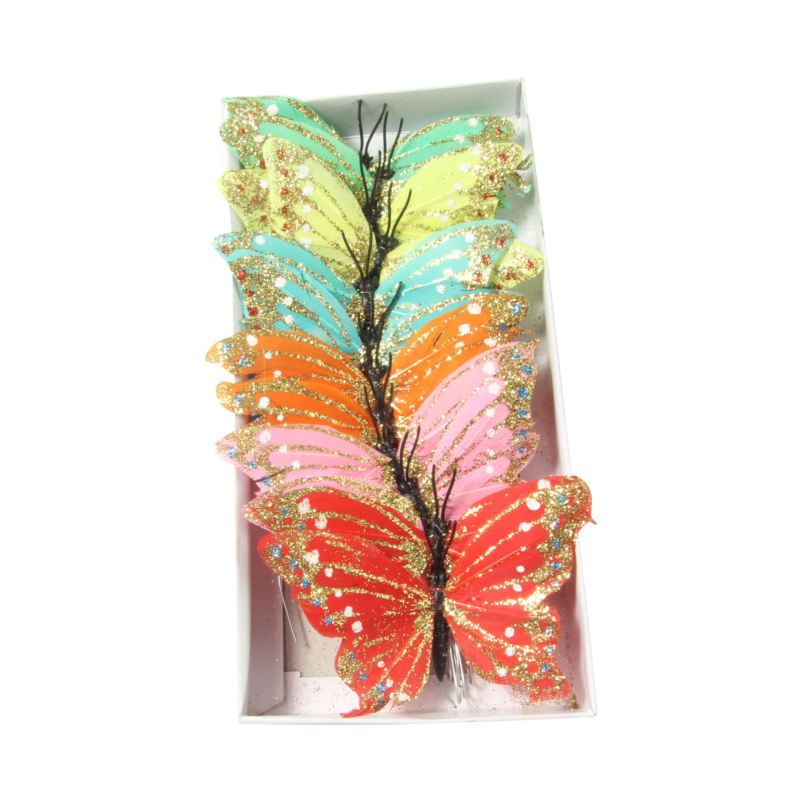 Assorted feather butterfly packs large 10cm glitter for Synthetic feathers for crafts