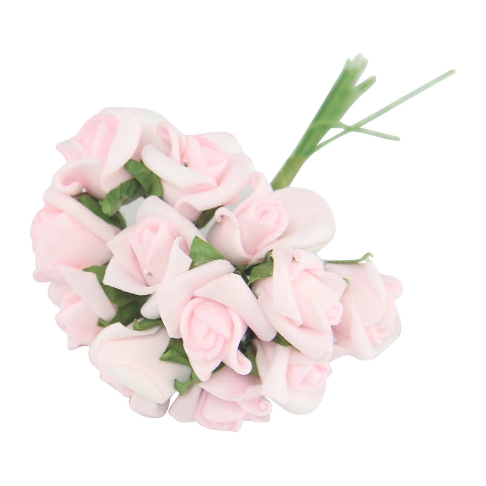 Bundles of 12 Mini Foam Rose Bunches Bulk Wholesale Artificial Flowers Craft