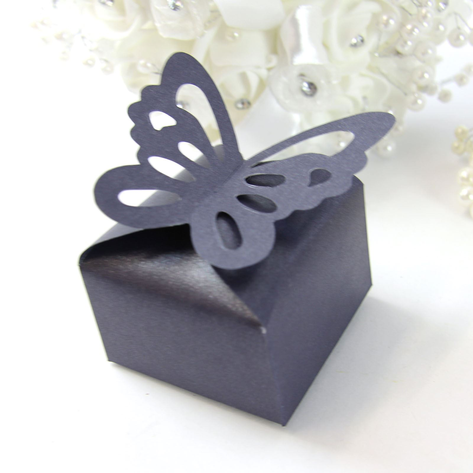 Butterfly Wedding Gift Card Box : ... about Butterfly Top Wedding Favour Boxes on Pearlised CardLaser