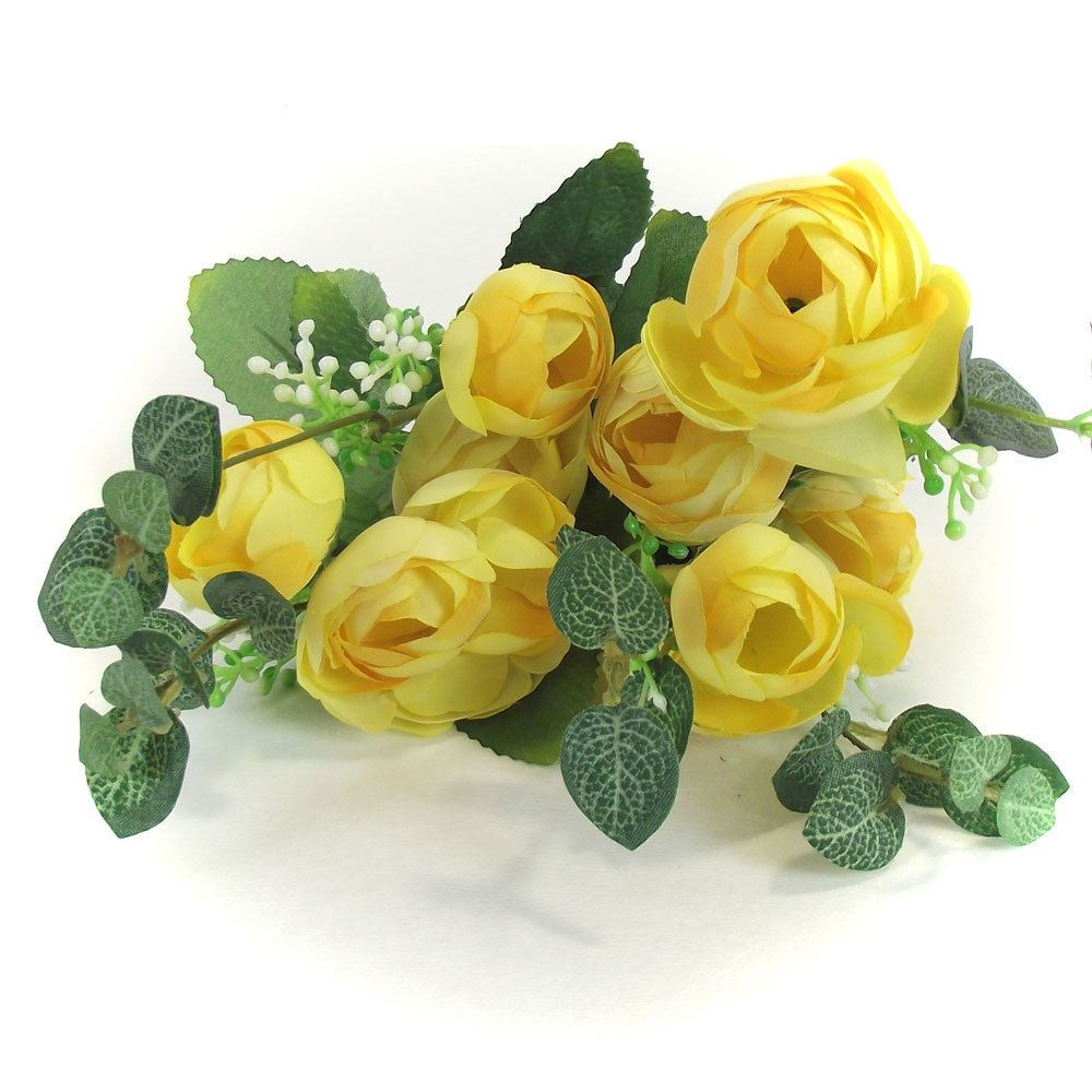 Silk Flower Bouquets Do Yourself: 10 Head Small Ranunculus Bouquet