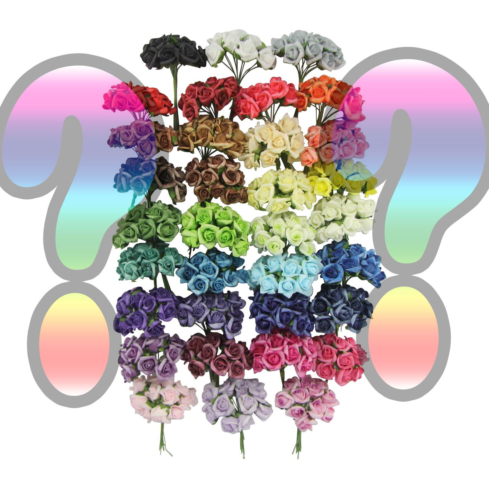 Bundles of 12 mini foam rose bunches bulk wholesale for Fake flowers for crafts