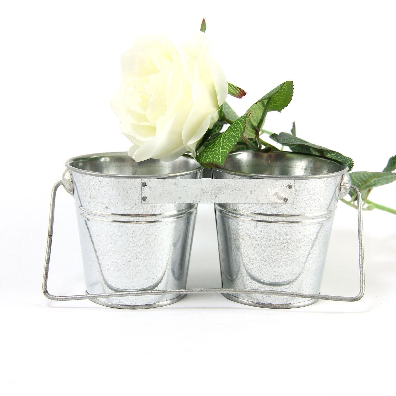 Raw Galvanised Bucket Planters.  Mini Zinc Pots Metallic Chips