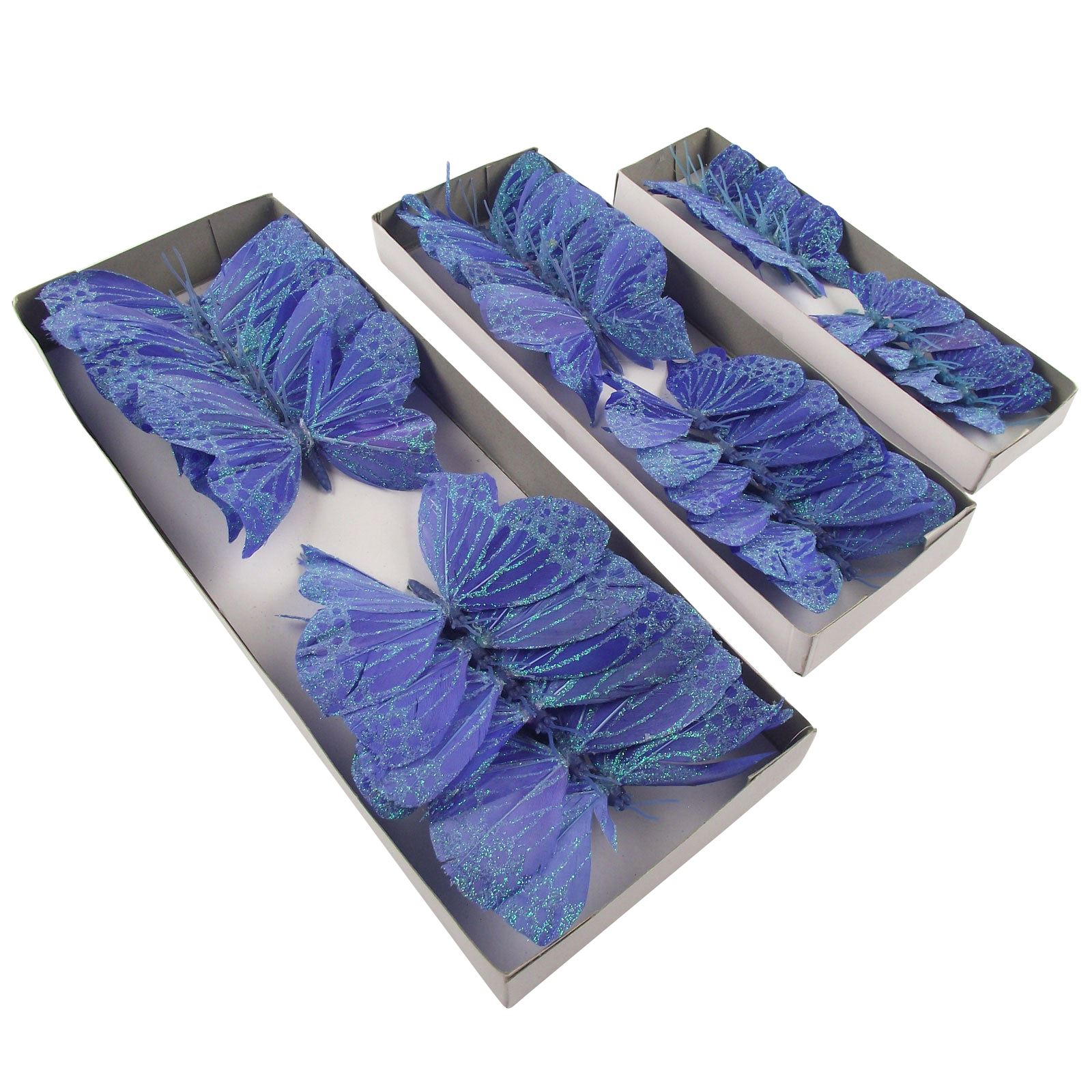 Box of 12 feather glitter butterflies artificial wedding for Synthetic feathers for crafts