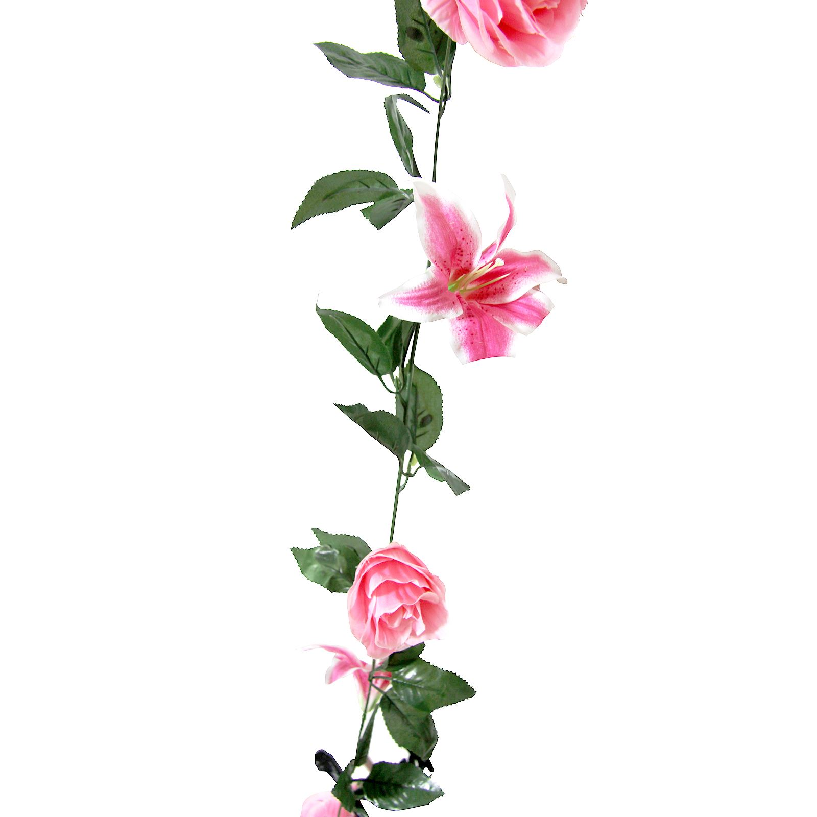 rose and lily flower garland artificial fake flowers vine ivy trellis ebay. Black Bedroom Furniture Sets. Home Design Ideas