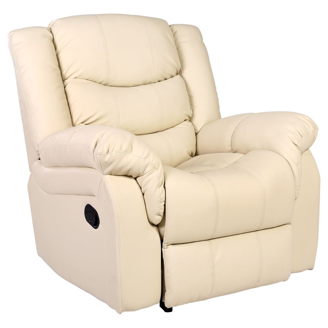 SEATTLE CREAM LEATHER RECLINER ARMCHAIR SOFA HOME LOUNGE ...