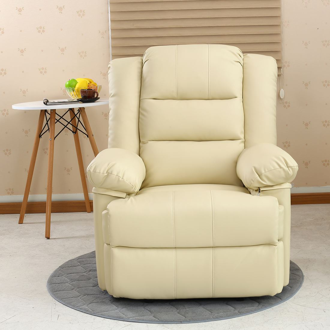 LOXLEY CREAM LEATHER RECLINER ARMCHAIR SOFA HOME LOUNGE ...