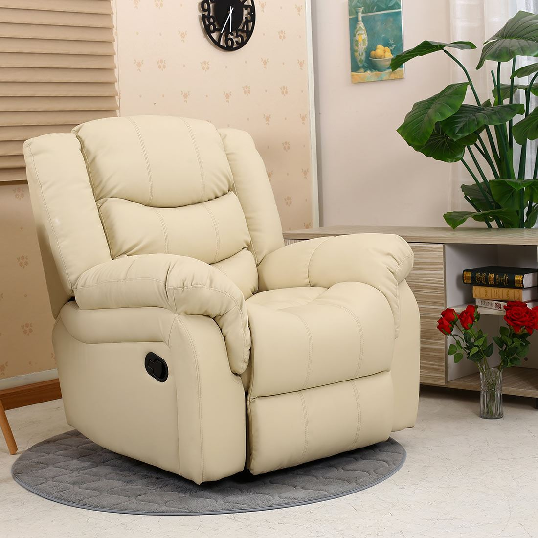 Leather Sofa Nourishing Cream: SEATTLE CREAM LEATHER RECLINER ARMCHAIR SOFA HOME LOUNGE
