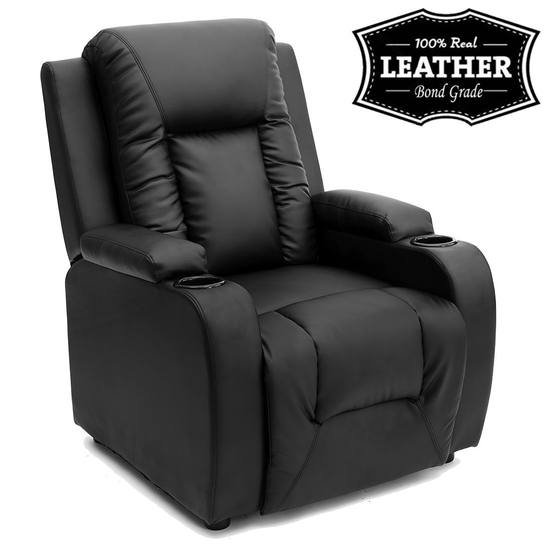 oscar leather recliner w drink holders armchair sofa chair