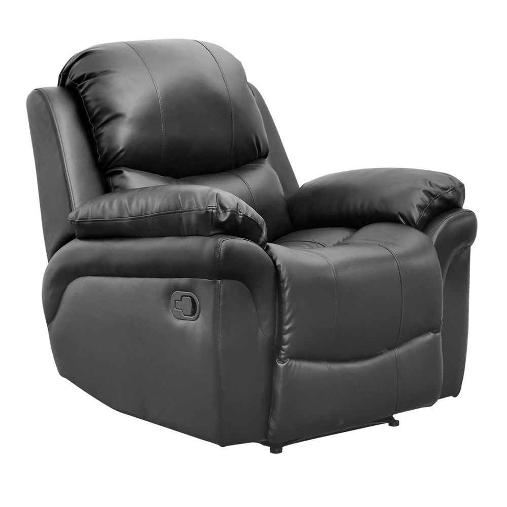 MADISON BLACK REAL LEATHER RECLINER ARMCHAIR SOFA HOME ...