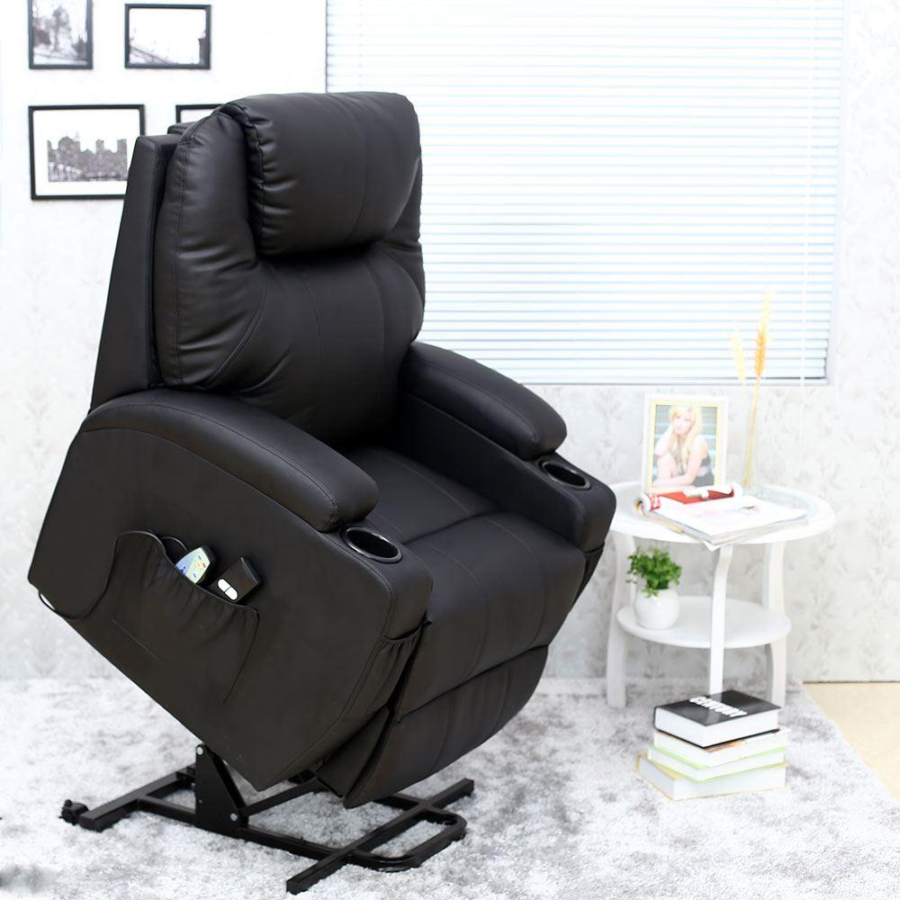 Cinemo Black Elecrtic Rise Recliner Leather Massage Heat