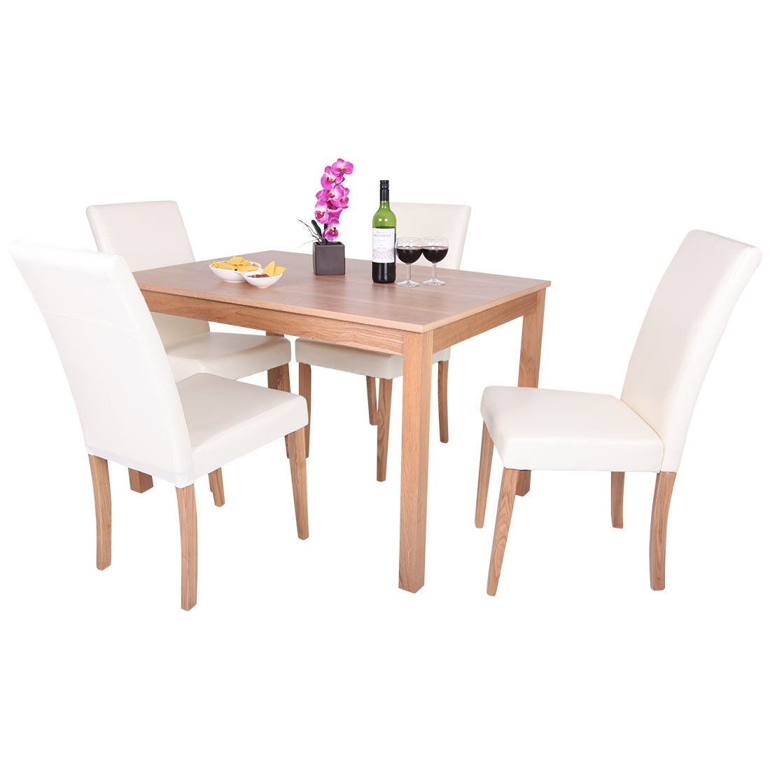 OAKDEN OAK VENEER DINING TABLE AND 4 X CREAM LEATHER HIGH BACK CHAIR SET WOOD
