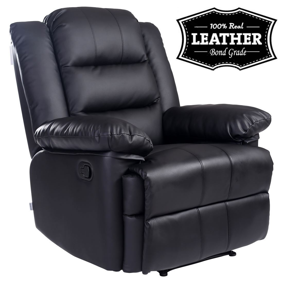 Loxley Black Leather Recliner Armchair Sofa Home Lounge Chair Reclining Gaming Ebay