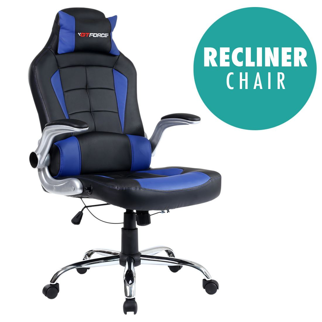 RECLINING LEATHER SPORTS RACING OFFICE DESK CHAIR GAMING COMPUTER