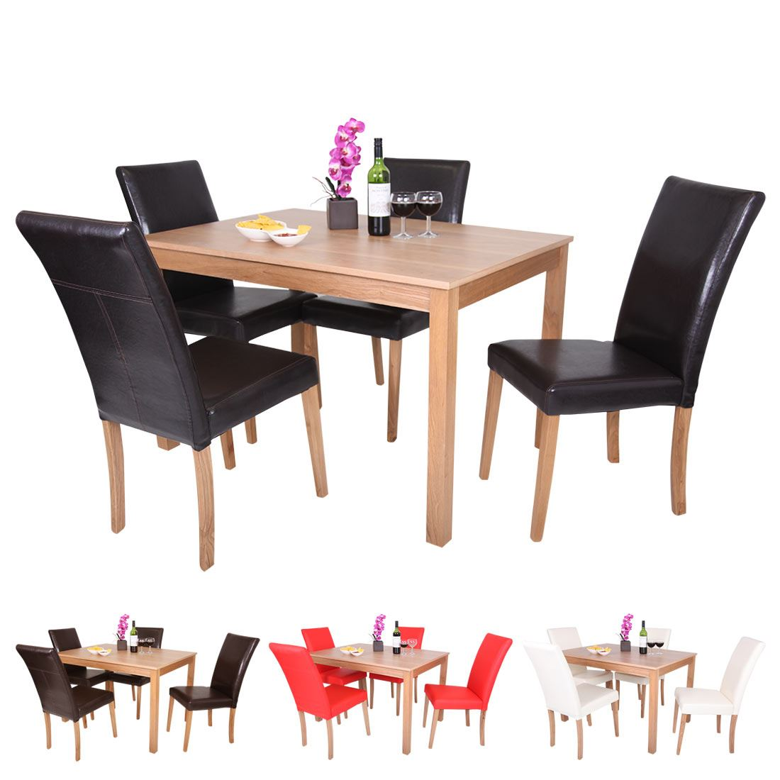Oakden oak veneer dining table and 4 x faux leather high for High dinner table set
