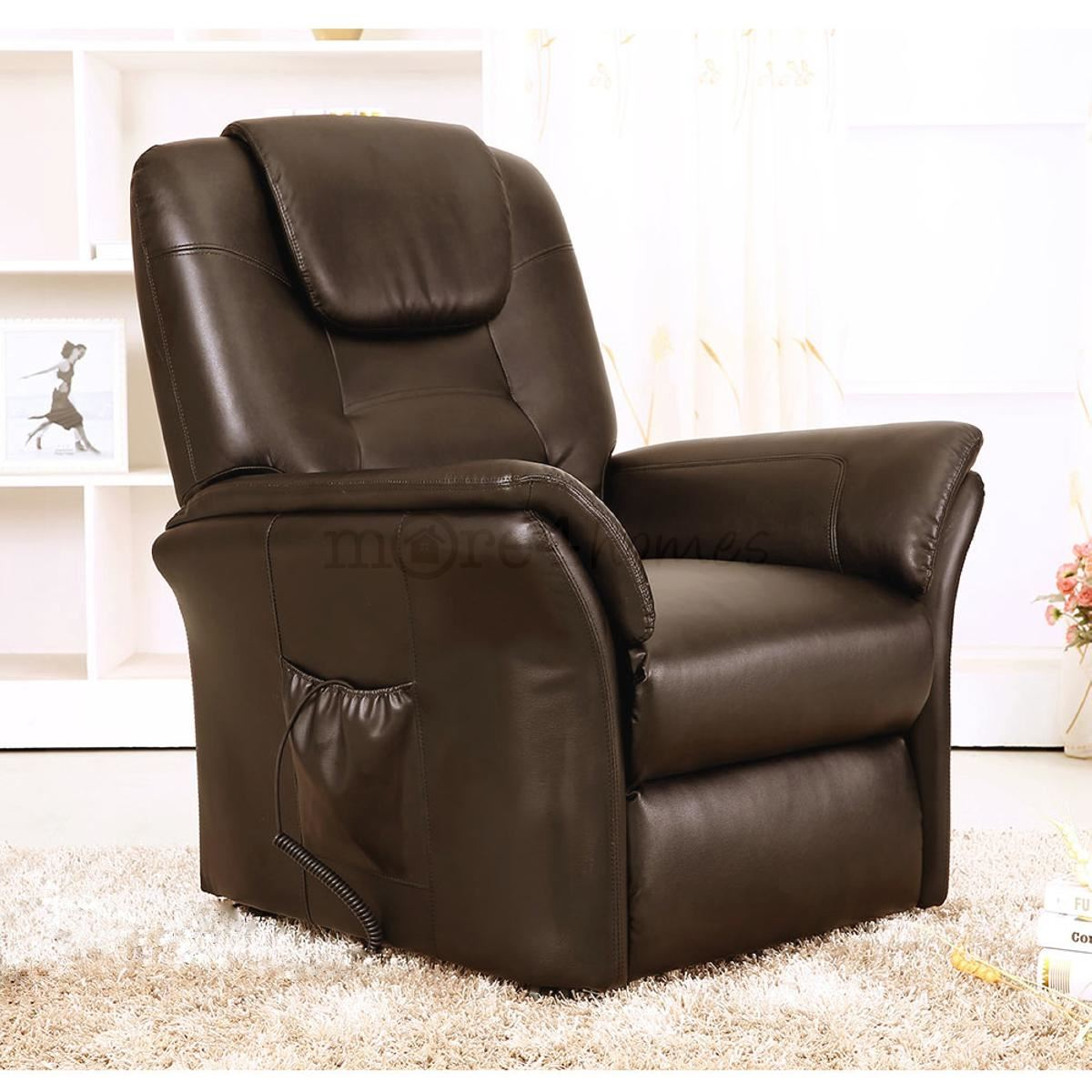 windsor brown electric rise recliner real leather armchair