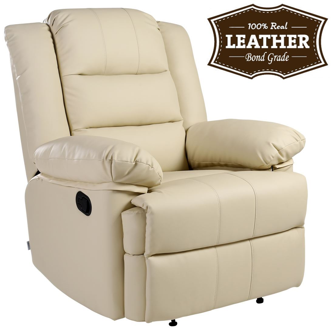 Loxley Cream Leather Recliner Armchair Sofa Home Lounge Chair Reclining Gaming Ebay