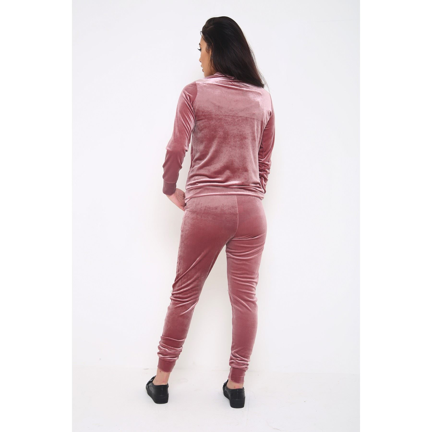 Womens Velour Tracksuit Ladies Zipped Slit Knee Velvet ...