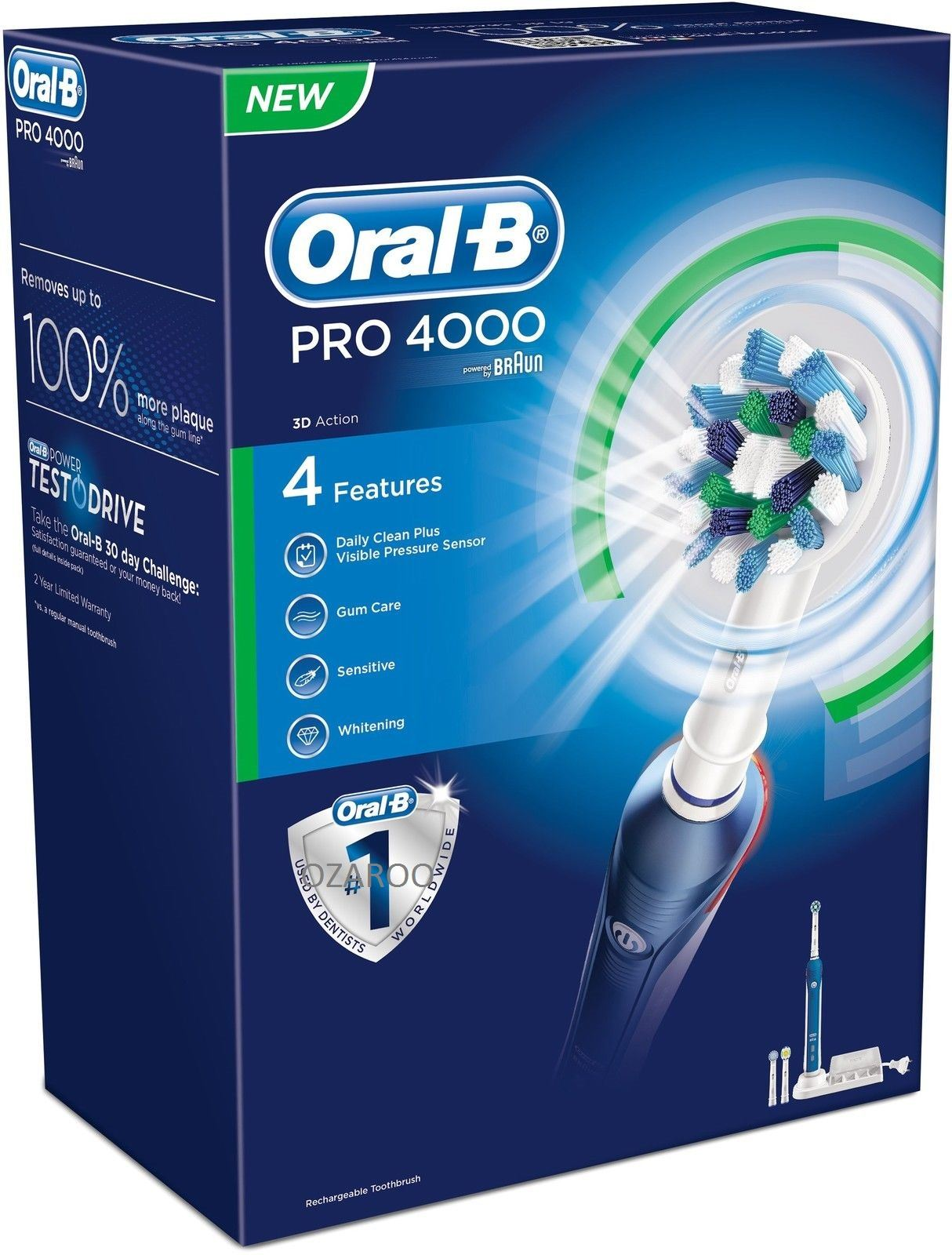 Braun Oral-B PRO 4000 CrossAction 3D 4-Mode Rechargeable Electric Toothbrush | eBay