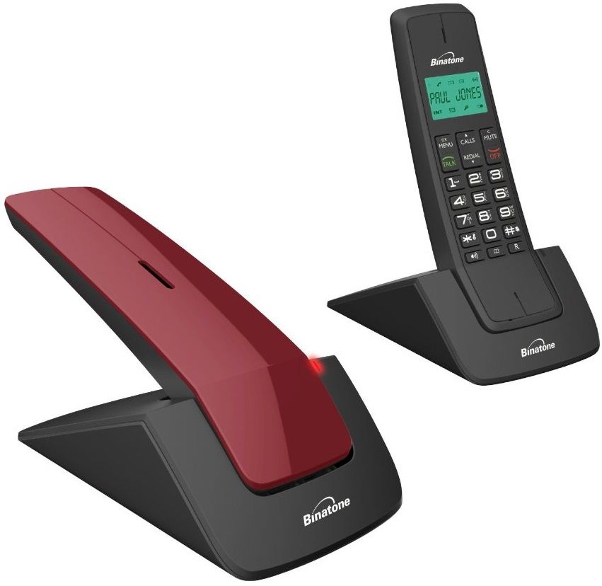 Binatone Designer 2102 Twin Modern DECT Home Cordless Telephone 2 Pack Red Bl