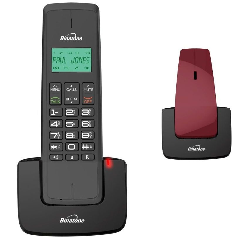 Binatone designer 2102 twin modern dect home cordless telephone 2 pack red black ebay - Designer cordless home phones ...