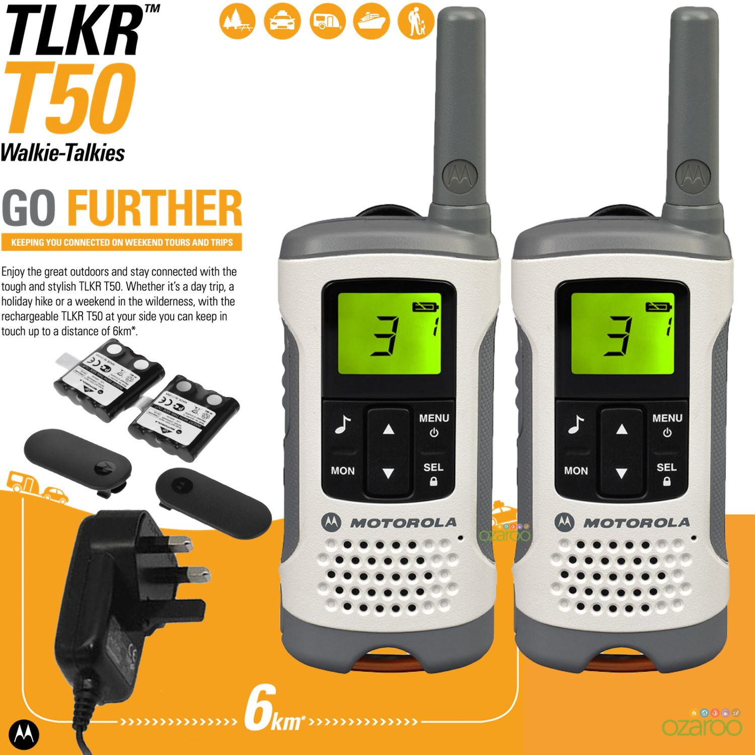 6km motorola tlkr t50 digital rechargeable 2 way twin walkie talkie 2 set kit uk ebay. Black Bedroom Furniture Sets. Home Design Ideas