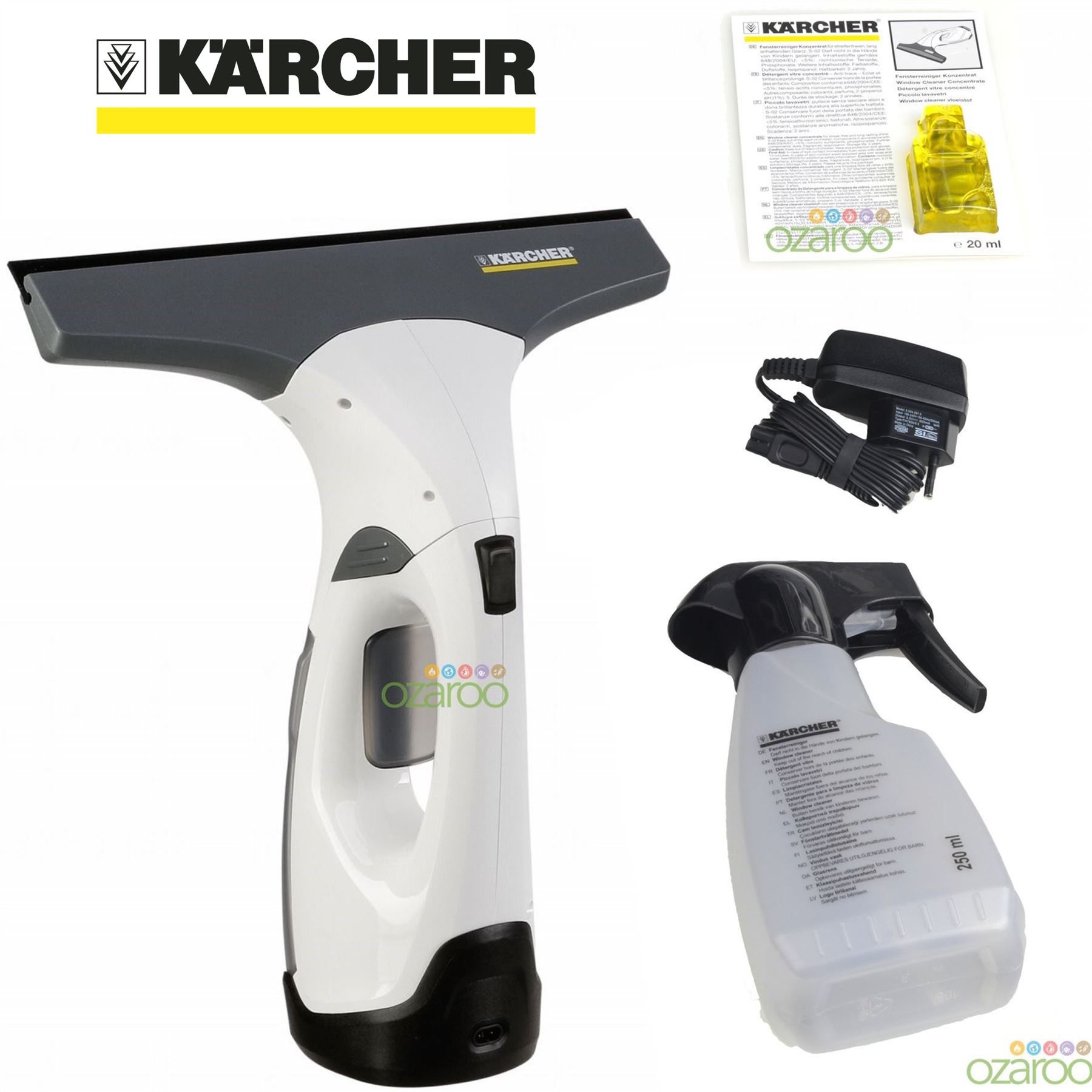 karcher wv2 plus vac cordless rechargeable glass window vacuum cleaner kit white ebay. Black Bedroom Furniture Sets. Home Design Ideas