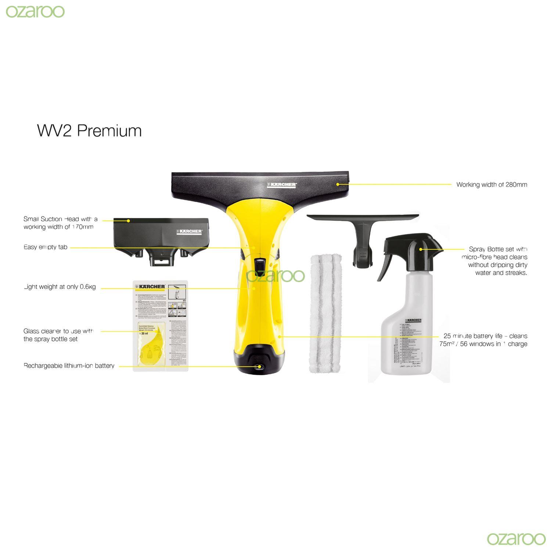 karcher wv2 premium window vac cordless glass vacuum. Black Bedroom Furniture Sets. Home Design Ideas