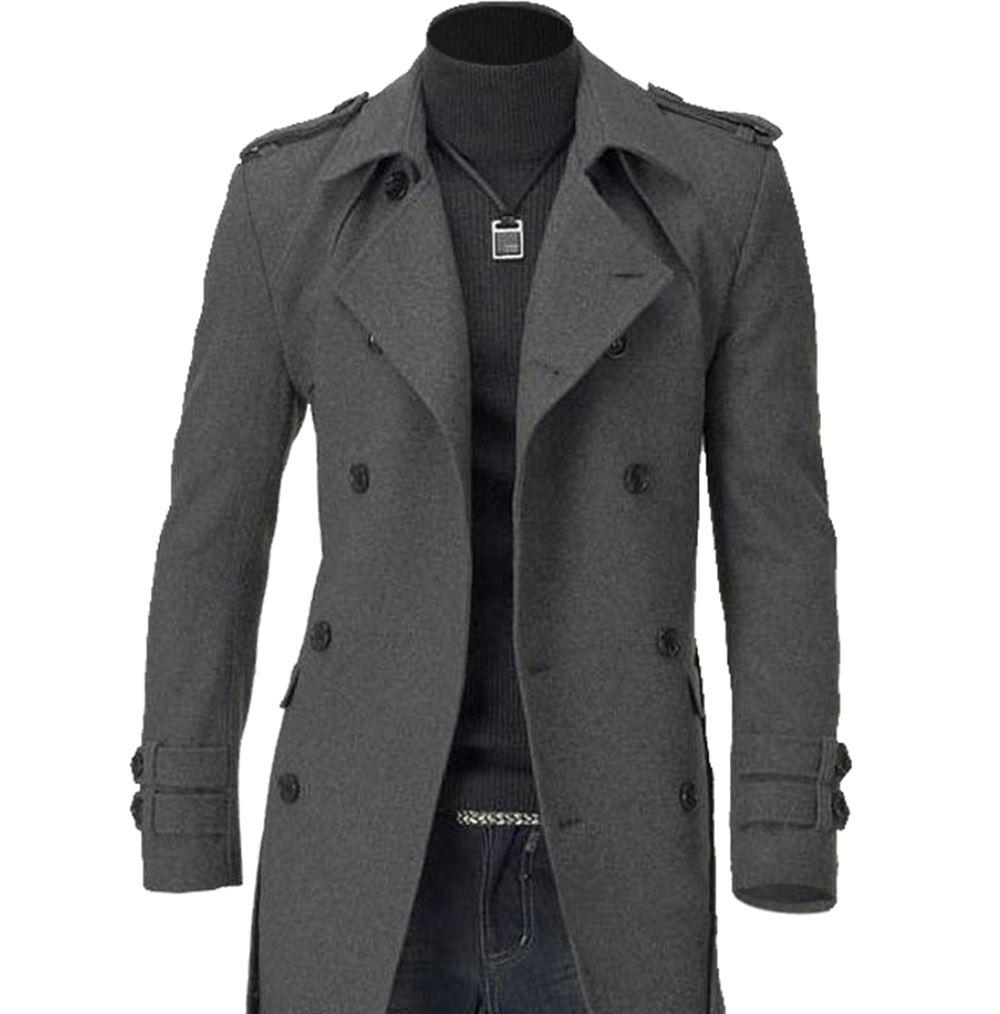 Men's Trench Warmer Coat Winter Long Jacket Double ...