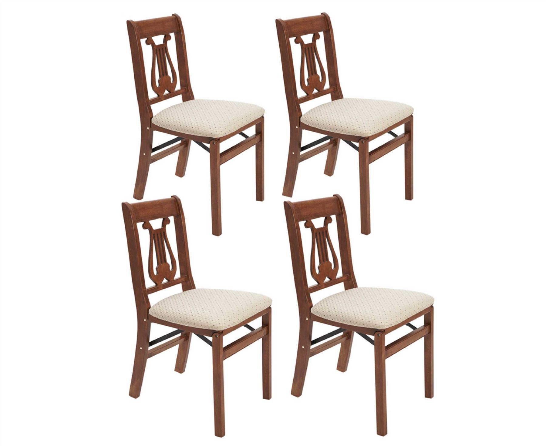 Set Of 4 Lyre Back Folding Chairs Dining Furniture Solid Wood Brown Kitchen New Ebay