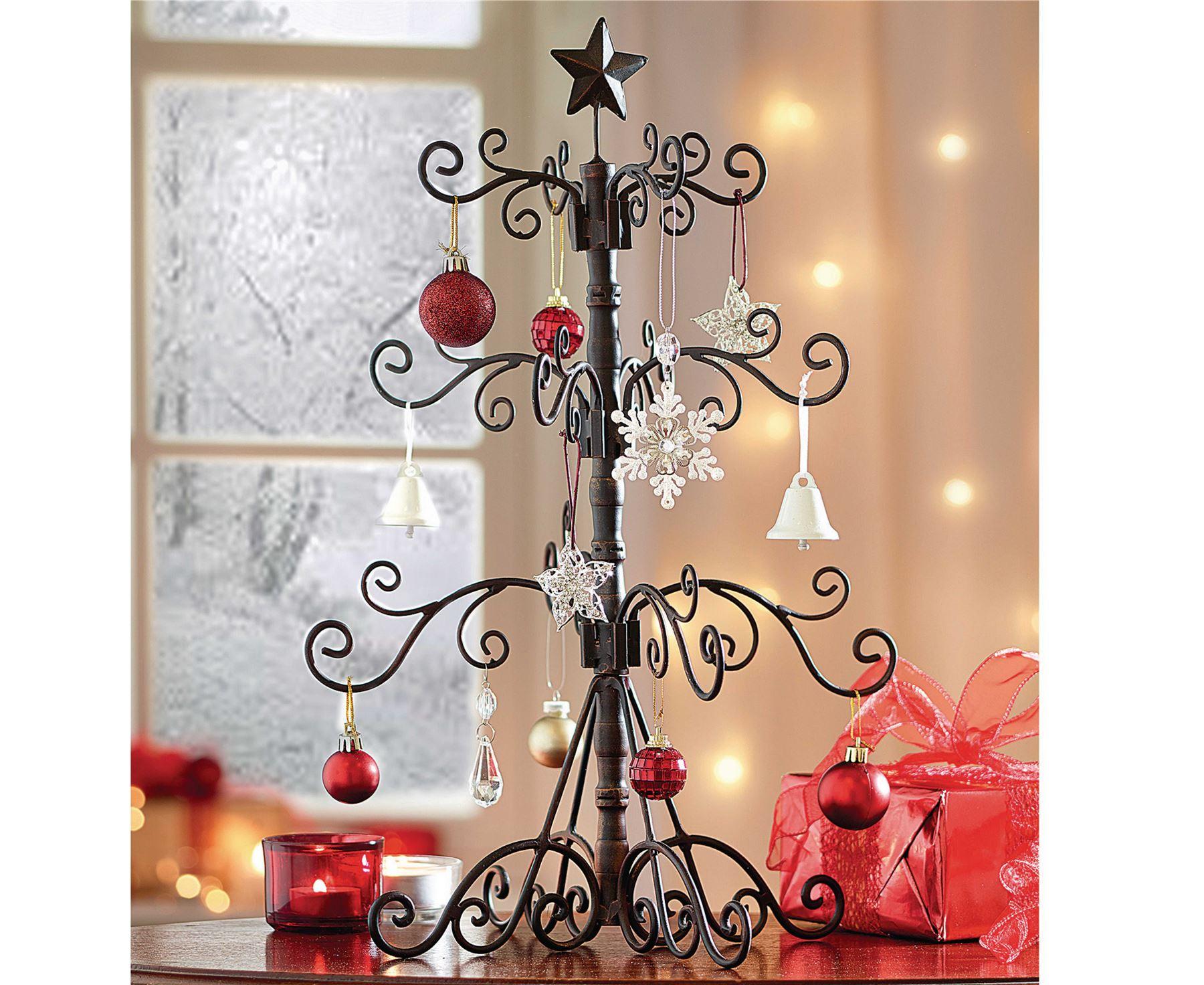 Metal Christmas Xmas Tree Small Tabletop Ornament Bronze