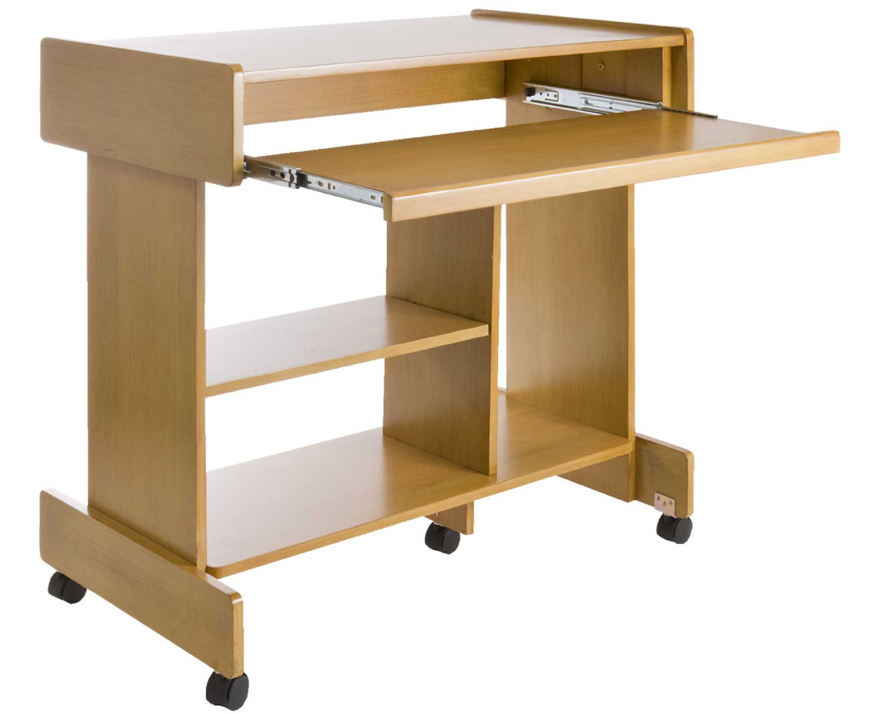 Large Wheeled Computer Wooden Desk Pull Out Keyboard Shelf Hard Drive . Full resolution‎  pic, nominally Width 1800 Height 1471 pixels, pic with #6C4B1B.