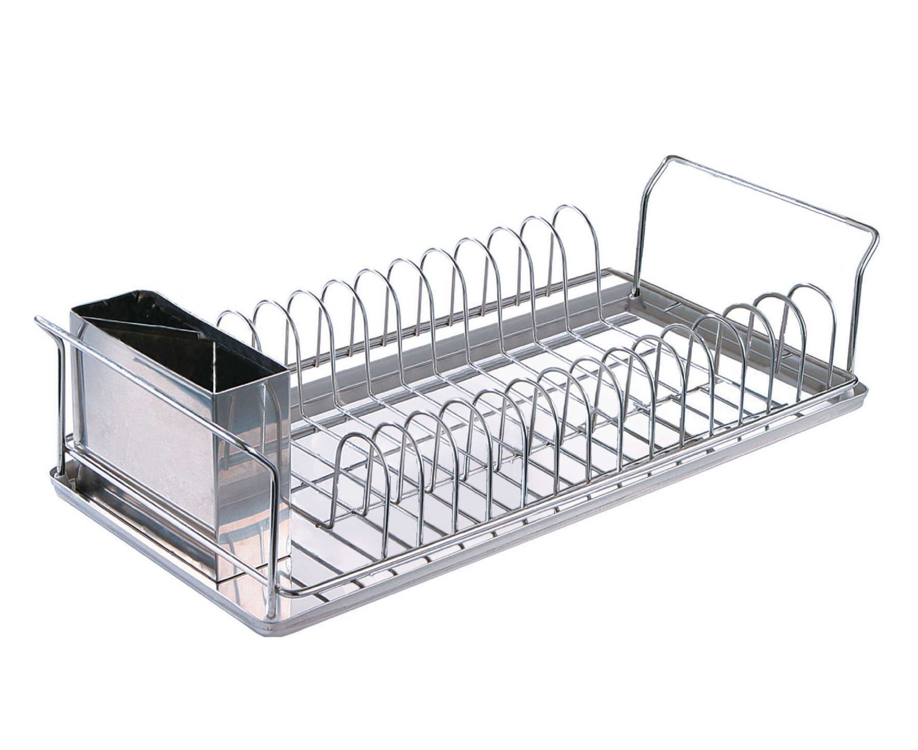 Slimline drainer tray dish cutlery rack kitchen stainless Small stainless steel dish drying rack