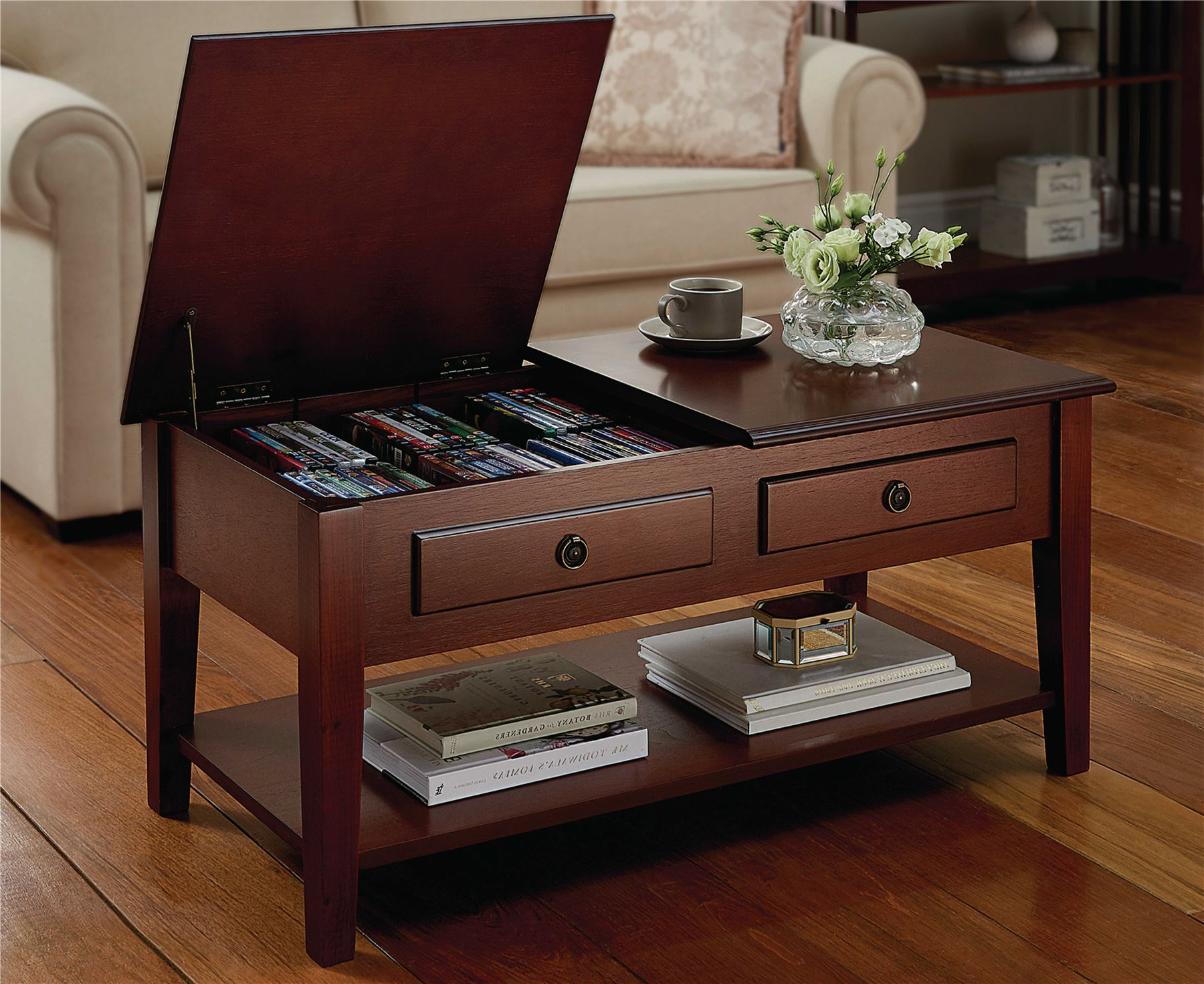 Storage Coffee Table Home Living Room Furniture Dual Lid