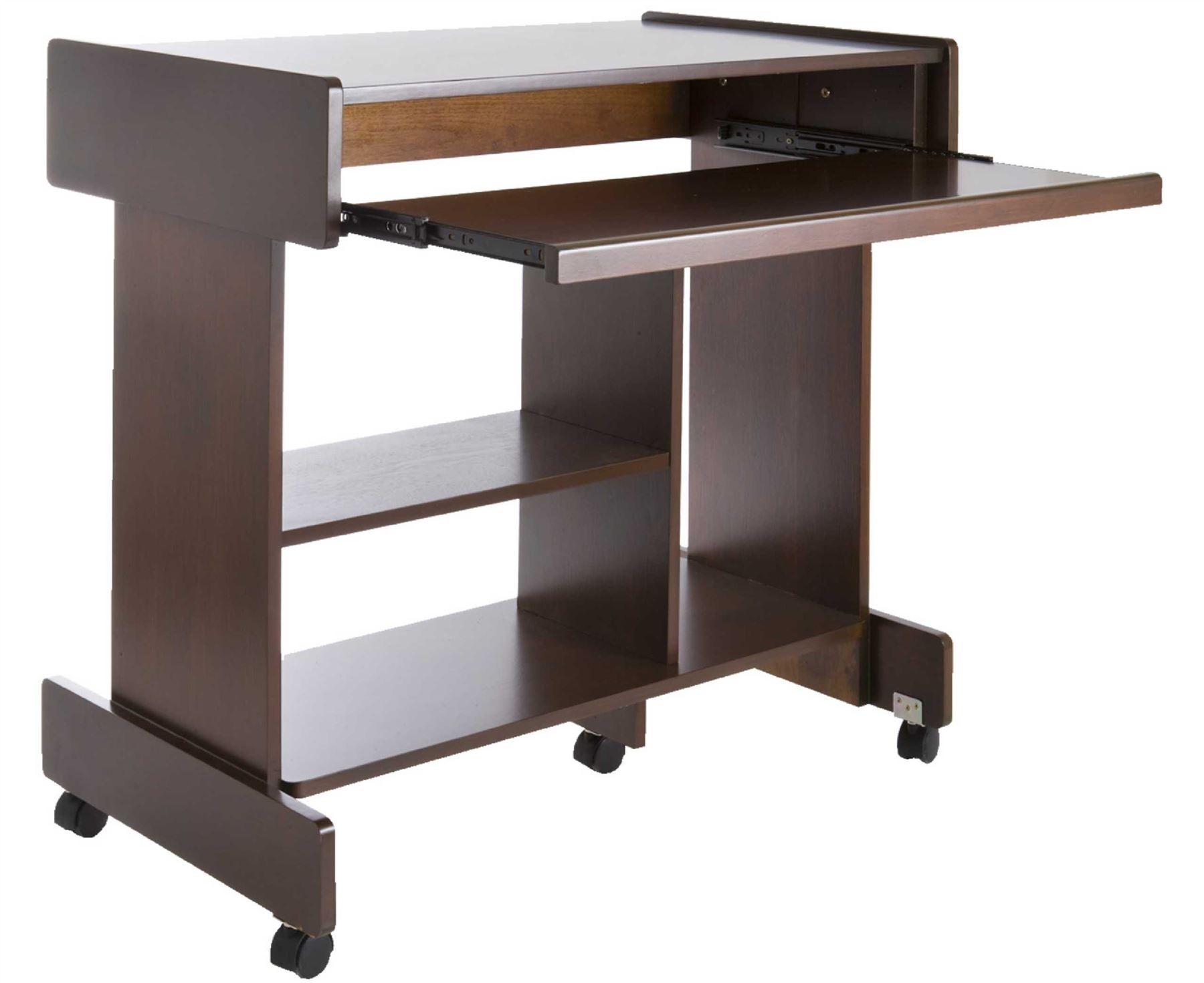 large wheeled computer wooden desk pull out keyboard shelf. Black Bedroom Furniture Sets. Home Design Ideas