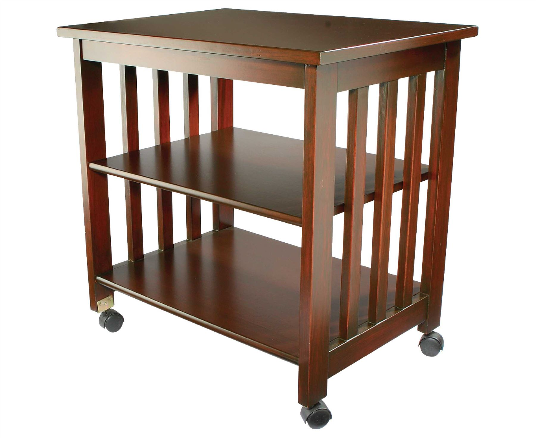 Very Impressive portraiture of Wheeled Storage Wood Finish Table Wheels Side Portable Shelves Printer  with #A0492B color and 1800x1471 pixels
