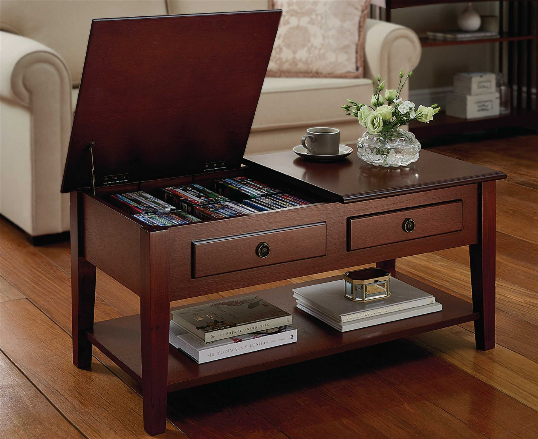 storage coffee table living room furniture dual lid cd dvd ebay. Black Bedroom Furniture Sets. Home Design Ideas