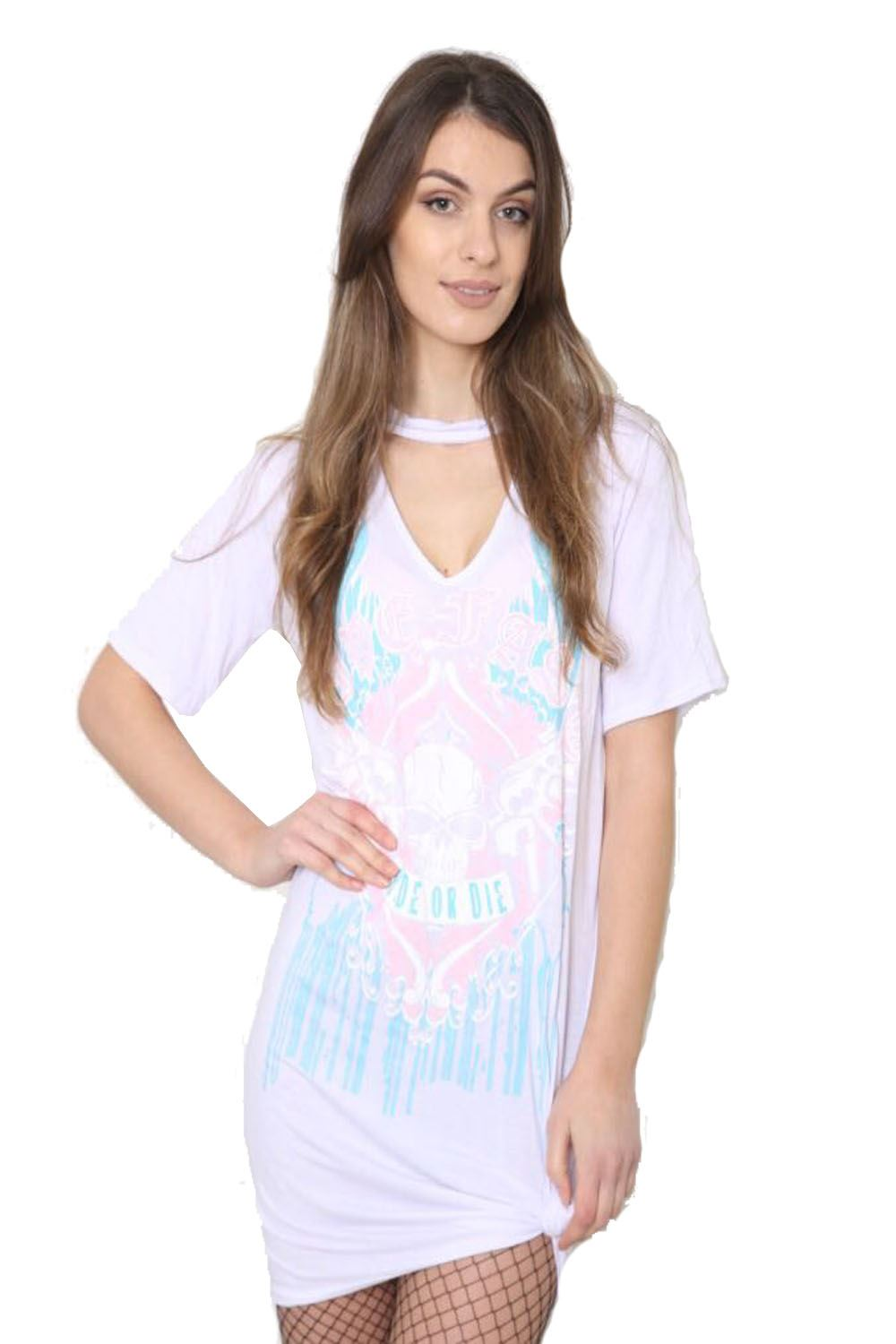 New ladies womens long t shirt choker neck dress american for Long t shirts for ladies online
