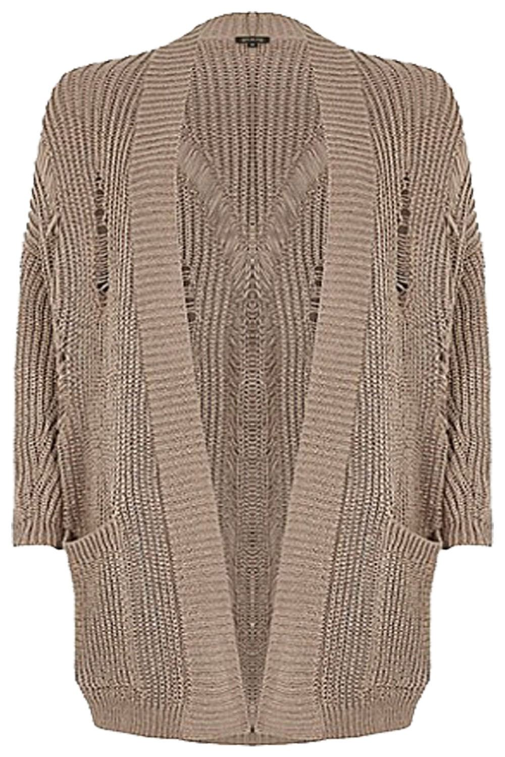 New Ladies Women Ripped Knitted Distressed Chunky Long Cardigan ...